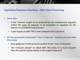 Legislative/Statutory Standing – After Data Processing