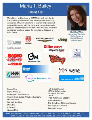 Maria T. Bailey Client List