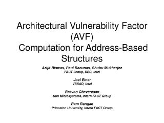 Architectural Vulnerability Factor (AVF)  Computation for Address-Based Structures