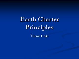 Earth Charter Principles