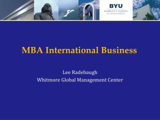 MBA International Business