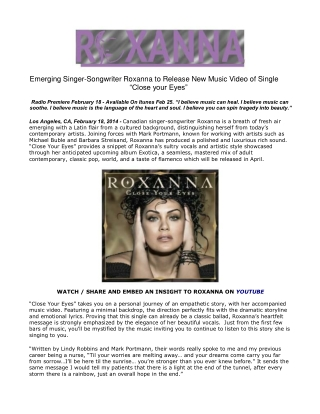 Emerging Singer-Songwriter Roxanna to Release New Music Vide