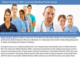 Robert Burkich MD