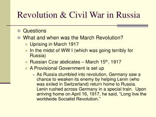 Revolution & Civil War in Russia