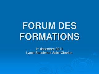 FORUM DES FORMATIONS
