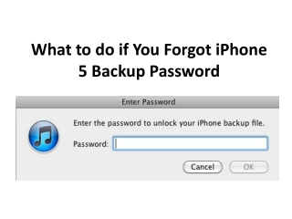 Forgot iPhone 5 Backup Password, How to Reset
