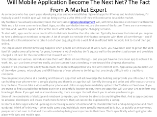 1Will Mobile Application Become The Next Net