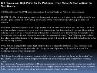 bill hionas says high prices for the platinum group metals s