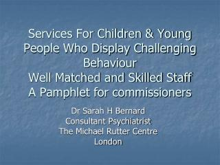 Services For Children & Young People Who Display Challenging Behaviour Well Matched and Skilled Staff A Pamphlet fo