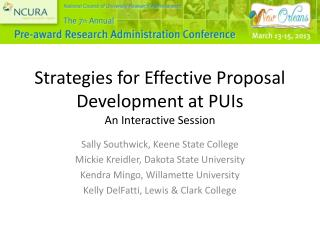 Strategies for Effective Proposal Development at PUIs An Interactive Session
