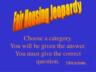 Fair Housing Jeopardy