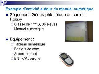 Exemple d'activité autour du manuel numérique