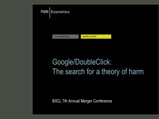 Google/DoubleClick: The search for a theory of harm BIICL 7th Annual Merger Conference