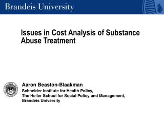 Issues in Cost Analysis of Substance Abuse Treatment