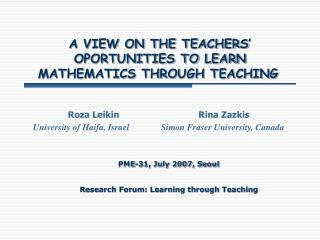 A VIEW ON THE TEACHERS  OPORTUNITIES TO LEARN MATHEMATICS THROUGH TEACHING