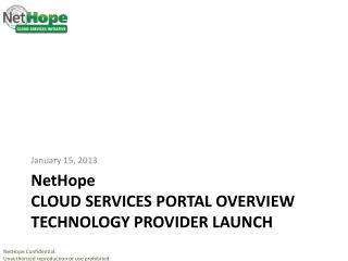 NetHope CLOUD services Portal Overview Technology provider launch