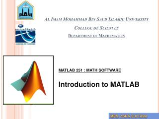 Al Imam Mohammad Bin Saud Islamic University College of Sciences Department of Mathematics