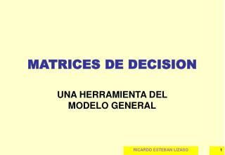 MATRICES DE DECISION