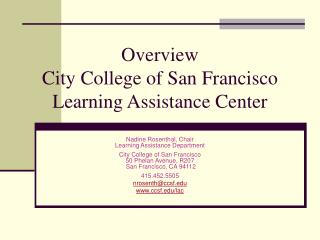 Overview  City College of San Francisco Learning Assistance Center