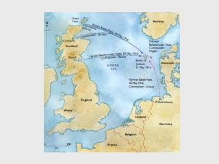 A map showing the location of the Battle of Jutland