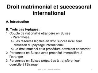Droit matrimonial et successoral international