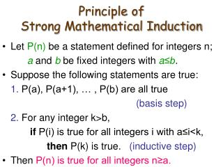 Principle of  Strong Mathematical Induction