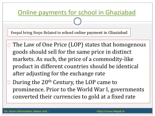 Some Information Regarding the Making of Online payment for