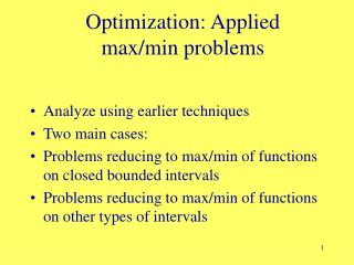 Optimization: Applied  max/min problems