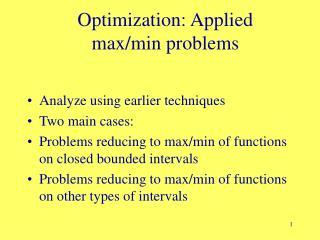 Optimization: Applied max/min problems