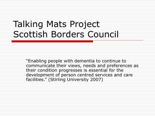 Talking Mats Project Scottish Borders Council