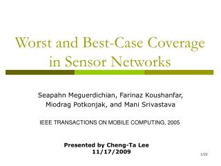 Worst and Best-Case Coverage in Sensor Networks