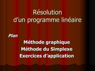 Résolution d'un programme linéaire