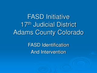 FASD Initiative 17 th  Judicial District Adams County Colorado