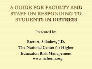 a guide for faculty and staff on responding to students in distress