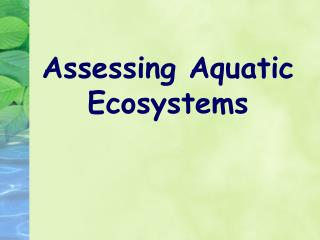 Assessing Aquatic Ecosystems