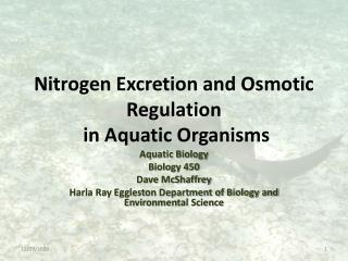 Nitrogen Excretion and Osmotic Regulation  in Aquatic Organisms