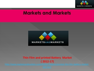 Global Thin Film and Printed Battery Market worth $1,210.3 M