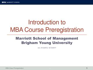 Introduction to MBA Course Preregistration