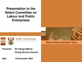 Presentation to the  Select Committee on Labour and Public Enterprises