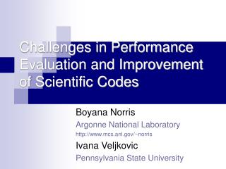 Challenges in Performance Evaluation and Improvement of Scientific Codes