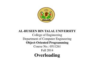 AL-HUSEEN BIN TALAL UNIVERSITY College of Engineering Department of Computer Engineering