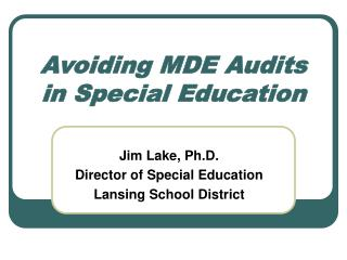 Avoiding MDE Audits in Special Education
