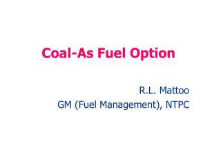 Coal-As Fuel Option