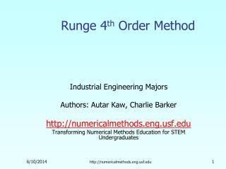 Runge 4 th Order Method