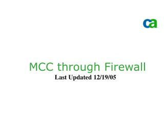 MCC through Firewall