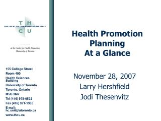 Health Promotion Planning At a Glance