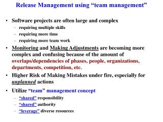 "Release Management using ""team management"""