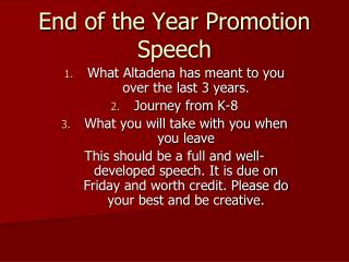 End of the Year Promotion Speech