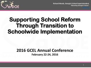 Supporting School Reform Through Transition to Schoolwide Implementation