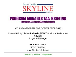 PROGRAM MANAGER TAA  BRIEFING